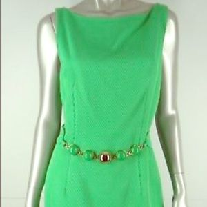 MILLY Green Textured Ribbed Belted Sheath size 10